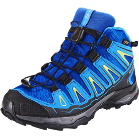 Salomon X-Ultra Mid GTX Shoes Kids blue yonder/bright blue/granny green